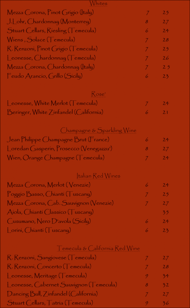 Wine List
